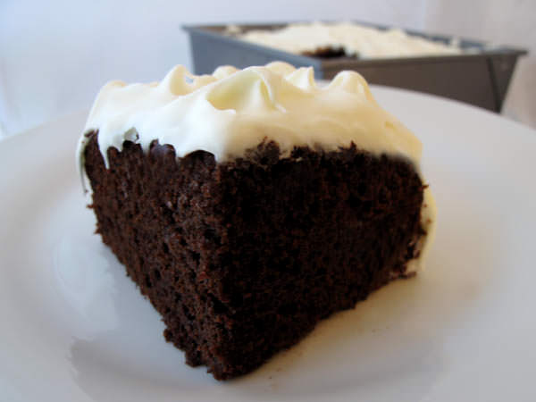Chocolate Mayo Cake with Fluffy White Frosting - aka Lazy Woman's Cake
